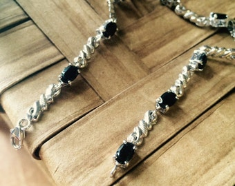 Thai Black Spinel Sterling Silver Bracelet
