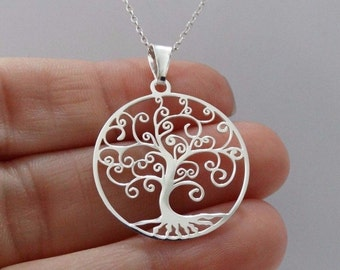 Tree of Life Filigree Necklace 925 Sterling Silver Laser Cut Pendant Family / silver tree of life necklace / tree of life pendant necklace