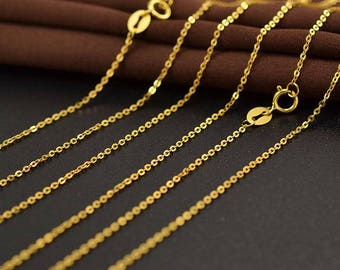 Solid 18K Yellow Gold Chain Letter O Style Necklace