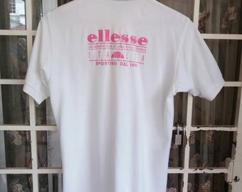 Vintage Ellesse polo tee spellout embroidery /pink n white/small/made in japan/sportwear