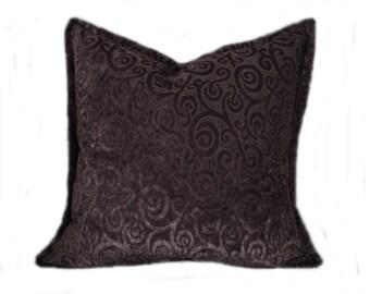 "24"" Vintage Cut Chenille Purple Pillow Cover, Aubergine, Eggplant, Mediterannean, Contemporary, Cottage Chic, Bohemien, Bedroom, Livingroom"
