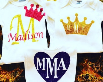 Personalized onesies and bibs