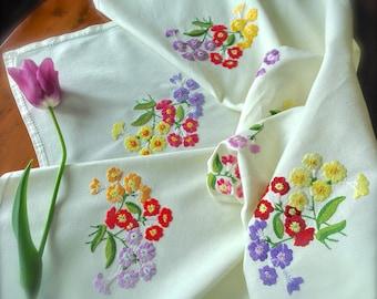 "Hand Embroidered Vintage ""Primrose"" Linen Tablecloth"
