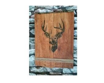 Rustic, Reclaimed Wood Wall Art, Deer Stag Animal, Unusual Gift, Hessian