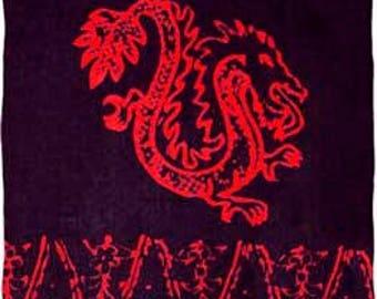 Plus Size Sarong – Black Sarong with Red Dragons