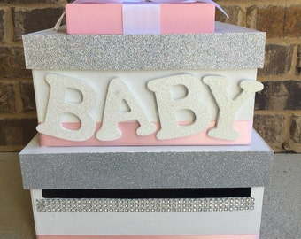 Pink Baby Shower Card Box, Giftcard Box, And Letter Box