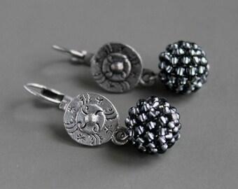 Black diamond earrings, tribal earrings, bohemian jewelry, ethnic earrings, tribal jewelry, bohemian earrings, dangle earrings, urban jewels
