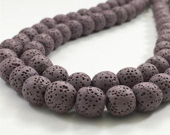 8mm Natural Lava Beads,Purple Lava Rock Beads,Lava Beads,Jewelry Making