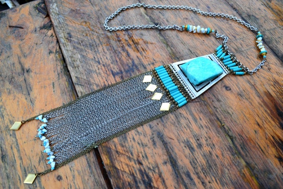 "Tribal/ethnic ""Estsanatlehi"" with a gross Amazonite necklace"
