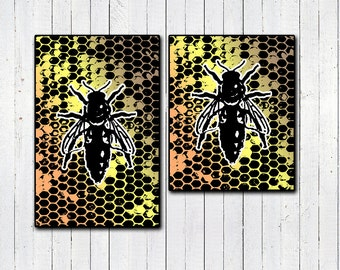 SAVE THE BEES! Eco Print, Environmental awareness, honeybees, spring gifts, art prints, alternative art, charitites