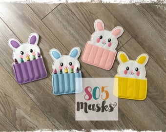 Easter Bunny Crayon Holders, Rabbit Crayon Holder, Easter Basket Toy, Bunny Toy, Bunny Birthday party, Crayon Birthday Favor