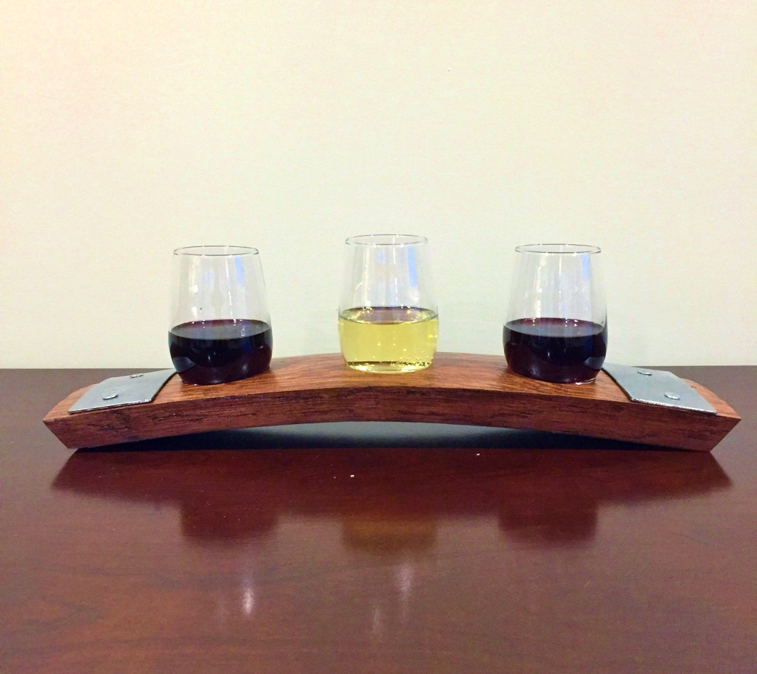 Wine Flight Tray Made From Reclaimed Wine Barrel Stave - Includes 3 Wine Tasting Glasses