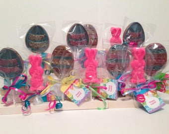 12 Chocolate Easter Lollipops Favors Party Favors Bunny Lovers 4 Bunnies 4 Happy Easter Eggs 4 Decorated Eggs