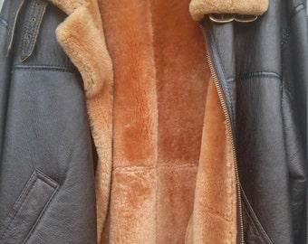 Shearling Fur Leather Men's Jacket L