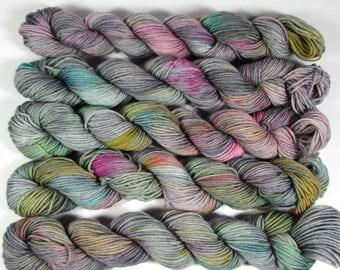 Gray Rainbow Mini Skeins Sock Yarn, Hand Dyed, Fingering Weight, Speckled, Superwash Merino Wool, Nylon, Rainbow Storm