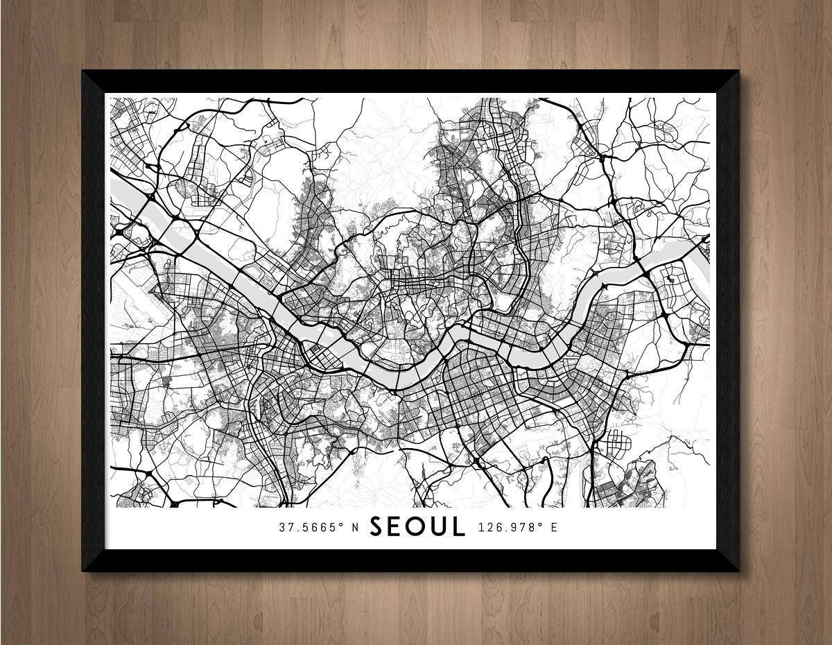 Color art printing anchorage - Every Road In Seoul Map Art High Res Digital South Korea Map Print Seoul Print Seoul Poster Seoul Art Print Unique Gift Idea