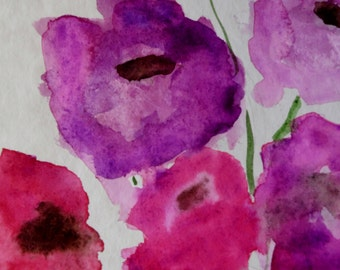 Watercolor  unikat  Pink flowers   A4