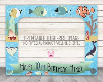"""Printable Fish Photo Booth Frame 32"""" x 42"""" Fishies Ocean Party photo booth prop frame Birthday Photobooth photo prop favor Under the Sea"""
