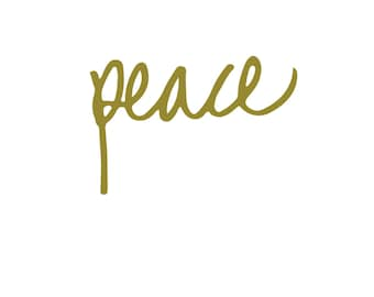 Christmas card, Christmas gift, hand lettering - PEACE