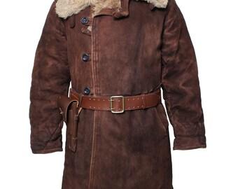 Russian Tulup Bekesha Winter Officer Sheepskin Coat Soviet Army Fur Coat Size 52