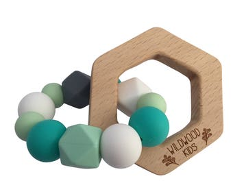 Hexagon Teething ring with turquoise mix