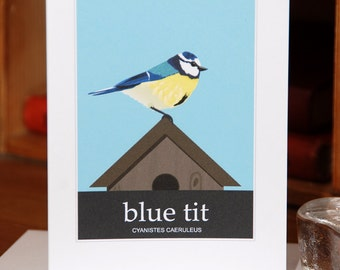 Greetings Card of a Blue Tit (Card ID: WOSB002)