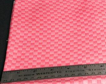 Bright salmon checkerboard cotton fabric - 1-1/2 yard