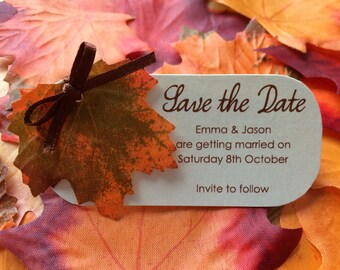 Save the date -  wedding invites -Autumn Leaves - Fall invite - Fall wedding - Autumn wedding - Fall leaves