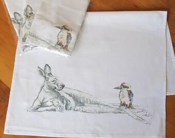 Tea Towel, Dish Towel, Quirky Native Australian animals,birds, kangaroo, kookaburra digital print on premium cotton, kitchen gifts