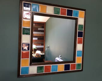 Decorative Solid Color Talavera Tile Wall Mirror with Chestnut Frame
