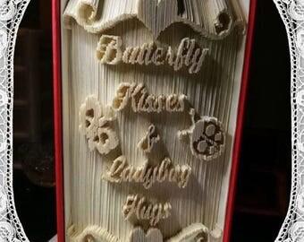 Butterfly Kisses & Ladybug Hugs Book Folding Art Pattern New Baby Nursery Gift