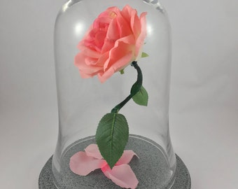 Beauty and the Beast Rose, Wedding Flowers, Life Size Rose, Pink Rose, Enchanted Rose, Blush, Wedding Centerpiece, Gifts for Her, Rose Dome