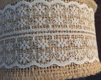 5 x meters Burlap ribbon hessian ribbon jute lace ribbon wedding natural 6cm wide