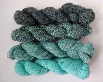 Hand dyed mini skeins 100% British sock wool 4 x 25g