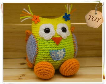 Crochet Owl Toy Amigurumi Owl Toy Crochet Yellow Green Owl Stuffed Owl Toy Soft Owl Toy Crochet Baby Owl Girl Handmade Toy Little Owl Plush