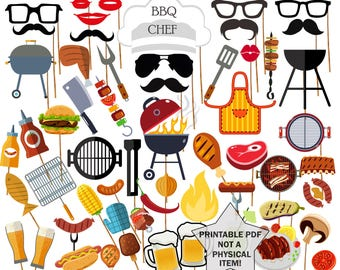 """BBQ Party Photo Booth Prop: """"PARTY PROPS"""" Barbecue party props Party supplies Printable Pdf Photobooth Props Printable Party Photo Booth"""
