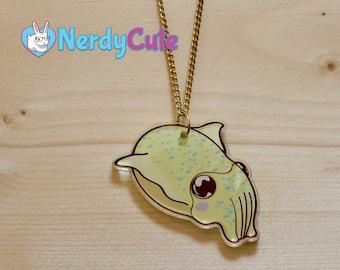 Cuttlefish Charm Necklace - acrylic charm, charm necklace, illustrated charm, cuttlefish jewelry