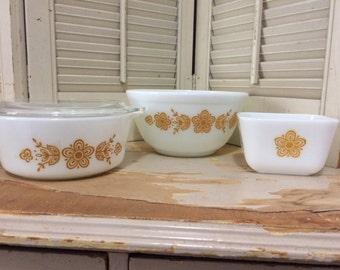 Vintage 4 piece Set of Pyrex Gold Butterfly 1970s