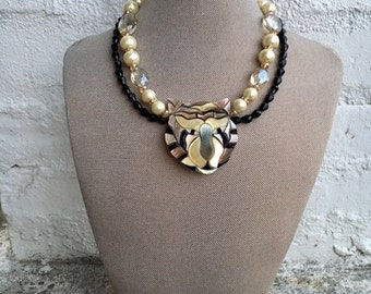 Glass and resin tiger choker necklace