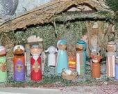 Crèche de Noël- peg dolls- Naissance de Jésus- Nativité