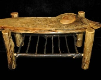 Rustic Hand Carved Coffee Table
