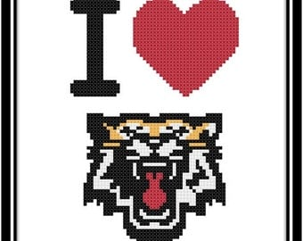 I Love The Hamilton Tiger-Cats Counted Cross Stitch Pattern (PDF Download)