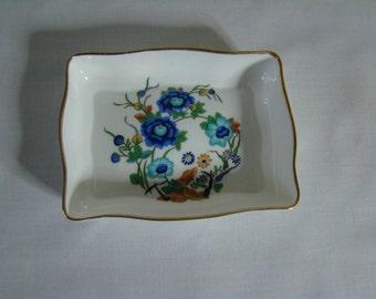 Aynsley Marlina trinket dish, ring dish, fine bone china, 1980s, oriental design, Ching dynesty