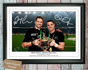 Richie McCaw Dan Carter New Zealand All Blacks Rugby Autographed Signed Photo Print - 1