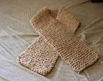 Brown-Gray Knitted Scarf
