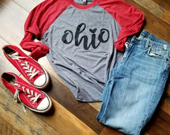 Ohio State Shirt - Ohio State raglan - Womens cothing - Mens clothing - Kids clothing - Handmade - Ohio state - Football - Scarlet and grey