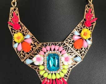 Bright multicoloured statement necklace vintage style