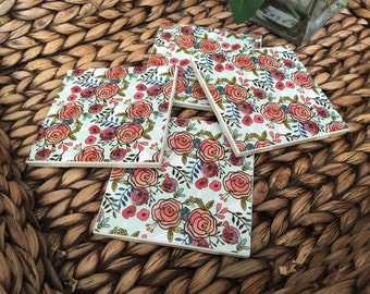 Coasters, Floral Coasters, Rose Coasters, Decorative Coasters, Set of 4 Coasters, Tile Coasters, Drink Coasters, Ceramic Coasters
