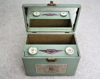 Father's Day Gift Vintage Radio Rare 1956 Philco AM Radio in a Vanity Case w/ Mirror - called an OVERNIGHTER Portable Radio