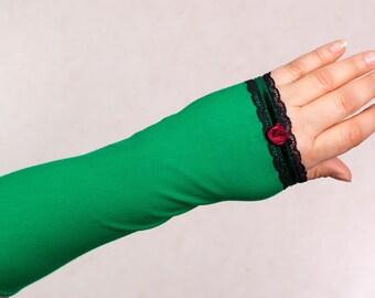 Romantic Mittens Arm Warmers Wrist Warmers Size M